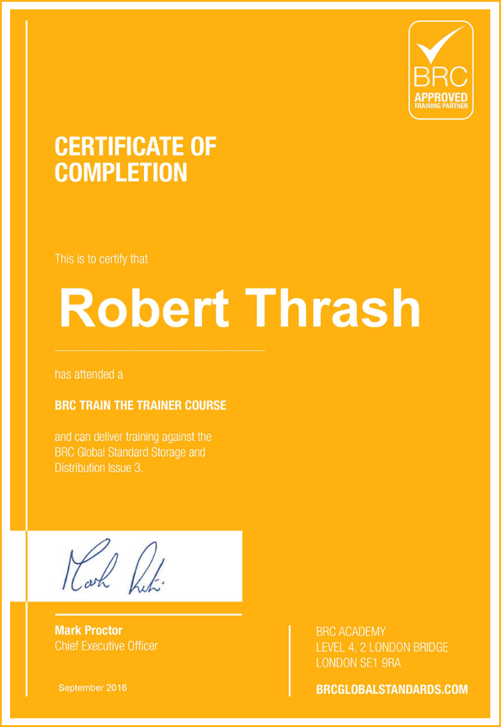 Certificate of completion BRC Train Trainer Course